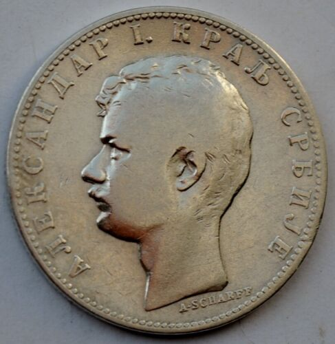 Serbia, 1 dinar 1897, Aleksandar I, silver coin