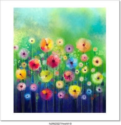 Abstract Floral Watercolor Painting. Art Print Home Decor Wall Art Poster