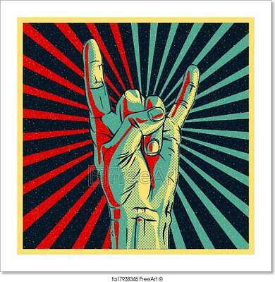 Hand In Rock N Roll Sign Art Print Home Decor Wall Art Poster (Rock N Roll Home Decor)