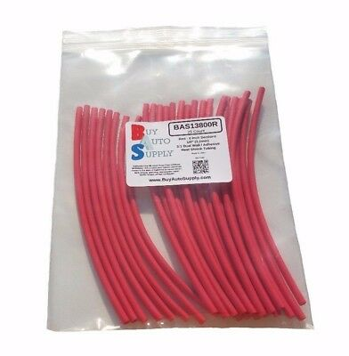 25 6 Pieces- 18 3.2mm Red 31 Heat Shrink Tubing Adhesive Lined Dual Wall