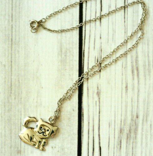 vintage kitten cat pendant necklace silver tone animal