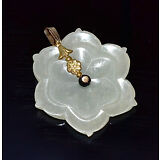 Antique Chinese Carved White Jade Flower-form Button Pendant