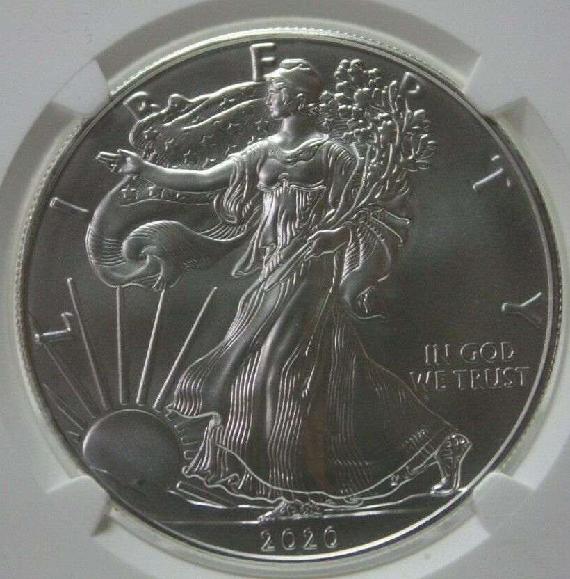 NGC 2020 MS 69 Flag Label Early Releases 1 Silver Eagle 041GRA  - $59.99