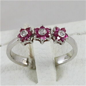 18K-WHITE-GOLD-750-RING-WITH-RUBIES-AND-DIAMONDS-FLOWERS-MADE-IN-ITALY