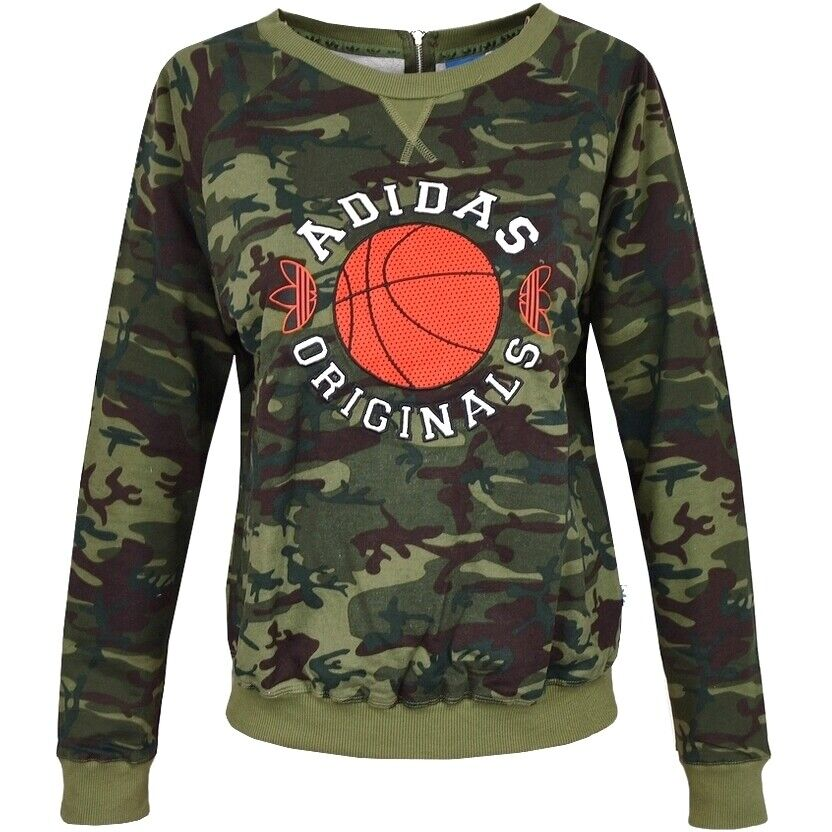 Adidas Trefoil Sweater Damen Pullover Sweat Shirt Basketball Oversize camouflage