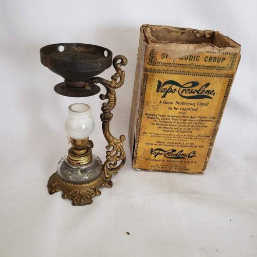 Antique Vapo Cresolene Medical Vaporizer w original Lamp and shade and Box 1888