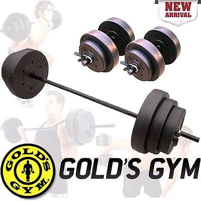 Golds Gym 140 Lbs Adjustable Weight Set + Dumbbells Vinyl Plates Fitness Workout