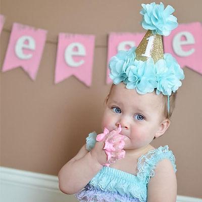 Glitter Flower Baby Girl Boy 1st Birthday Hat Headband Crown Photo Baby Shower  - 1st Birthday Hat Girl