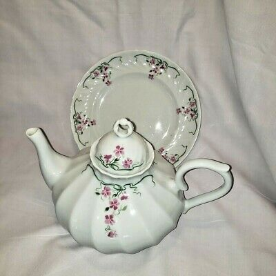 Soviet Times Hand Painted Porcelain Teapot With Beatiful Pattern Of Pink Field Flowers