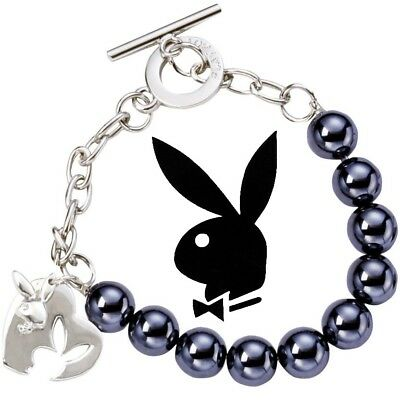 Platinum Plated Charm - Playboy Bracelet Heart Bunny Charm Silver Platinum Plated Faux Pearl Glass Beads