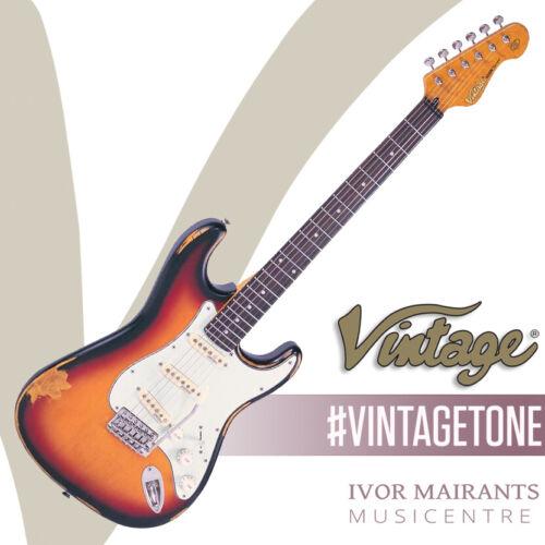 Vintage V6 ICON Electric Guitar - Distressed Sunburst V6MRSSB
