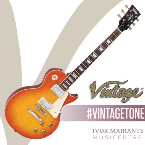 Vintage V100 Reissued Electric Guitar - Flamed Honeyburst V100HB