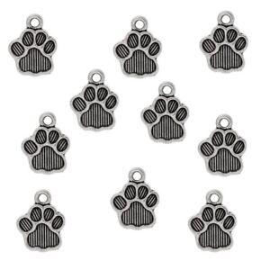 20 Tibetan Silver Dog Paw Print Charms Pendants Bear