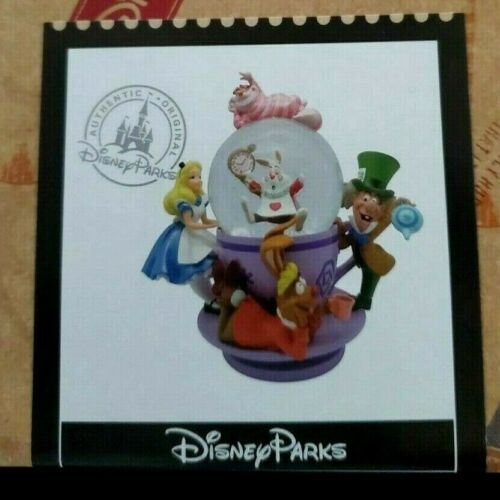 Disney Parks Alice in Wonderland Boxed Mad Tea Party Spinning Snowglobe FAST New