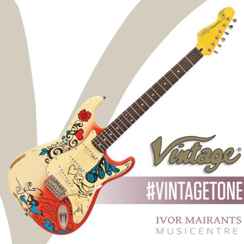 Vintage Icon V6 'Thomas Blug' Summer of Love Electric Guitar (Reverse Headstock)