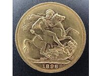 Full gold Sovereign coin Victoria 1898 M graded EF