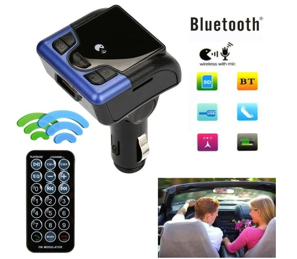 Wireless in Car Hands Free Kit - Remote Control - MP3 - iPhone & More - Ideal Christmas Present
