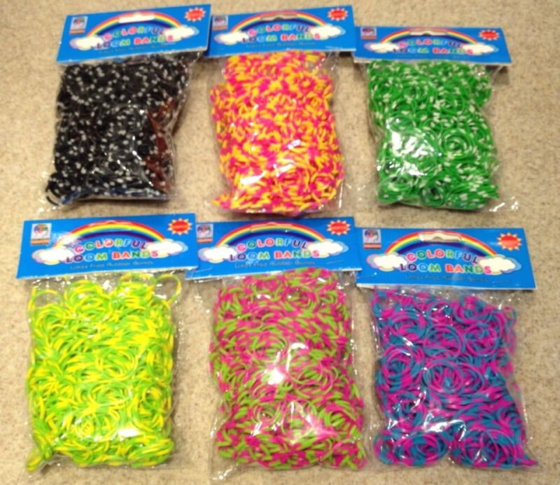 3600 ( 6x600) TIE DYE Rainbow Color loom refill rubber bands With S Clips new