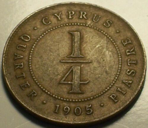 British Cyprus, 1905 Edward VII Quarter Piastre, 1/4 Piastre. 422,000 Mintage.