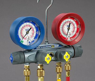 Yellow Jacket 46011 Brute Ii 4-valve Manifold Only Liquid Gauges Psi R-22410a