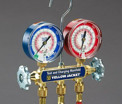 Yellow Jacket 42201 Series 41 Manifold With 3-18 Gauges