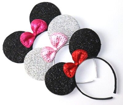Minnie Mouse Ears Adult (3 Minnie Mouse Red Pink Bow-Mickey Mouse Ears Headband Disney)