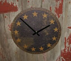 Americana Wall CLOCK*Navy Blue*13 Star*Primitive Home Farmhouse Colonial Decor