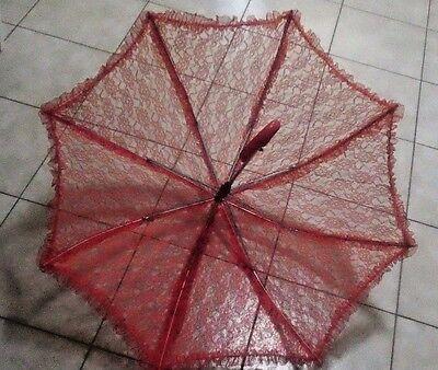 GIrls Red Floral Lace Parasol Umbrella, Wedding Dance Costume Prop