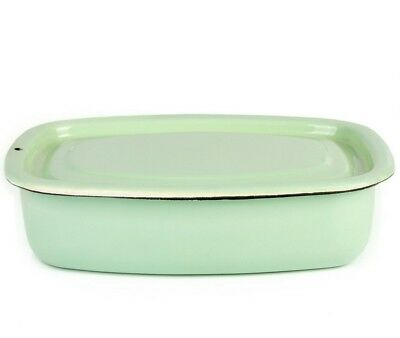 1.1-Qt Green Enamel Food Storage Container with Lid Green Food Storage