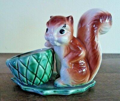 Squirrel With Acorn Figural Planter Hand Painted Ceramic Vintage -
