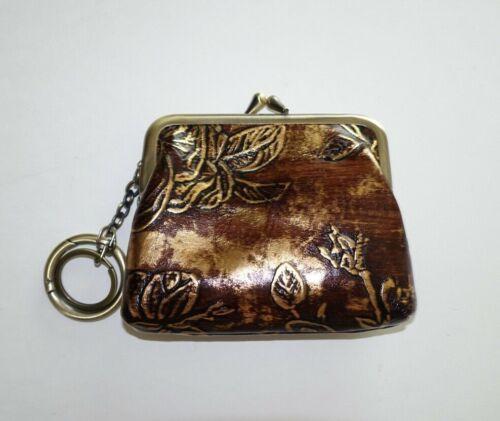 Patricia Nash Metallic Bark Leaves Coin Bag Purse Brown/Gold
