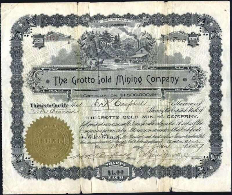 CRIPPLE CREEK, CO.: GROTTO GOLD MINING CO., 1897, UNCANCELLED STOCK CERTIFICATE