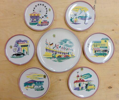 Porsche plates & platter set  guaranteed original  Ulmer Keramik 1960  complete