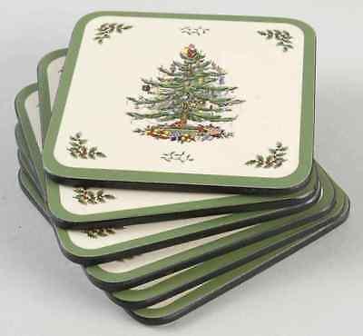 Spode Coasters (Spode CHRISTMAS TREE Set Of 6 Square Corkback Coasters (Pimpernel))