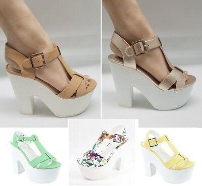 Peep Toe Chunky Platform Heels Faux Leather #Richael-s Faux Peep Toe