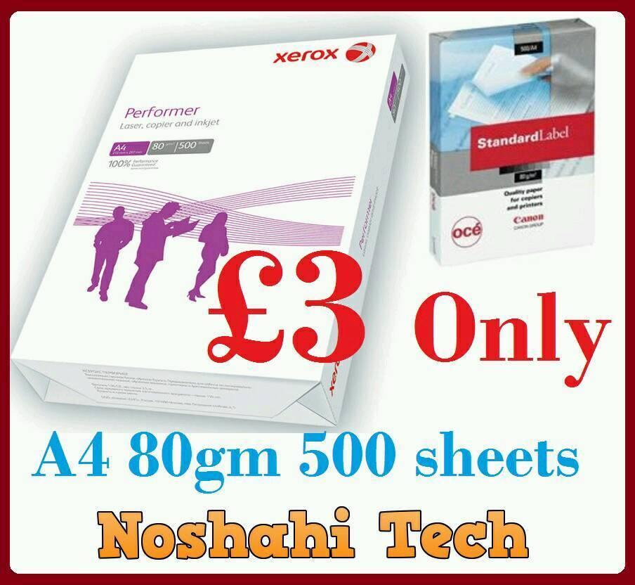 A4 paper 500 sheets 80gm canon or xeroxin Bradford, West YorkshireGumtree - A4 500 sheet 80gm. A4 canon or xerox a4 copy paper. NOSHAHI TECH Toller lane Bradford