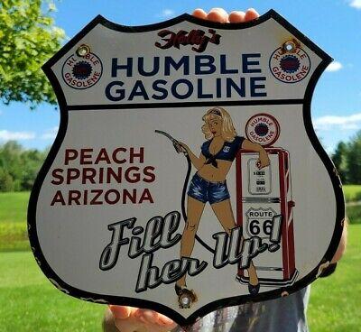 OLD VINTAGE HUMBLE HOLLY'S GASOLINE MOTOR OIL PORCELAIN ENAMEL GAS SIGN ARIZONA