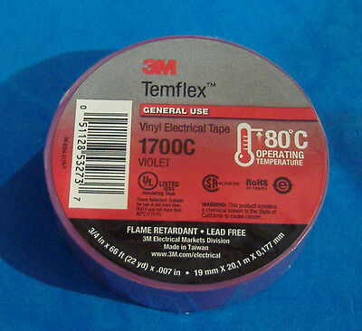 Premium Grade 3m Temflex Purple Violet Vinyl Electrical Tape 34 X 66