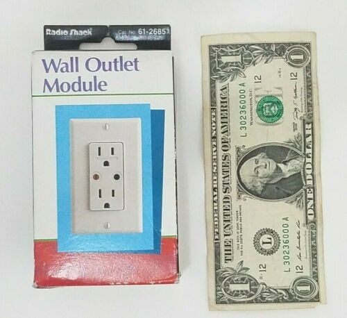 Radio Shack Plug N Power Wall Receptacle Outlet - White Hardwired - With Ground