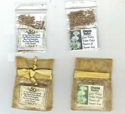 50th Gold Wedding Anniversary Favors 25 Gold Bags with Shasta Daisy Seeds + - 25 Wedding Anniversary Favors