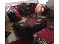 DFS Large Swivel Chair and footstool. FREE delivery in Derby