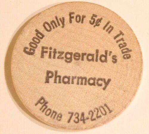 Vintage Wooden Nickel Fitzgerald Pharmacy