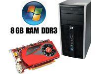 HP Gaming PC, 8GB Ram DDR3, AMD 3.0GHz, 250GB HD, HD7750