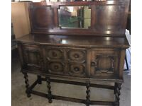 REDUCED - Vintage Early 20th Century Solid Oak Bow Front Sideboard With Mirror