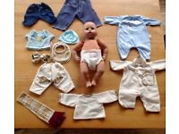 Interactive Baby Annabelle's Brother Doll and Clothes Bundle.