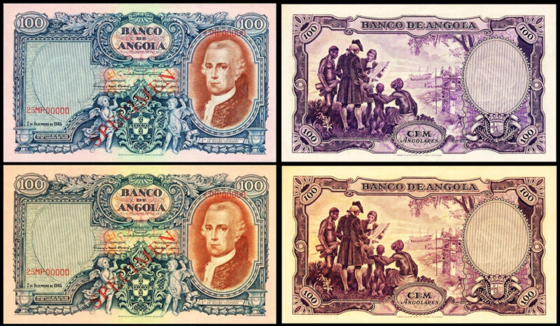 !COPY! 2 PORTUGAL PORTUGUESE ANGOLA 100 ANGOLARES 1946 BANKNOTES !NOT REAL!