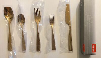 Set of Hisar 5 Piece 18/10 Stainless Steel Flatware Set, Titanium Gold Famia
