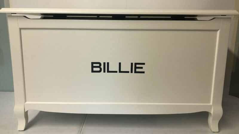 """POTTERY BARN KIDS Claudia Toy Chest, French White MONOGRAMMED """"Billie"""" *Retired*"""