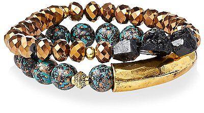 Gemelli Gold Tone Boho Turquoise & Brown Agate Austrian Crystal Beaded Bracelet