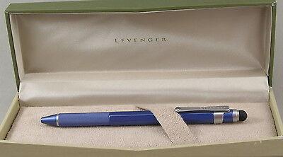 Levenger L-Tech Blue & Silver Ballpoint Pen w/Stylus - New In - Blue Silver Stylus Pen